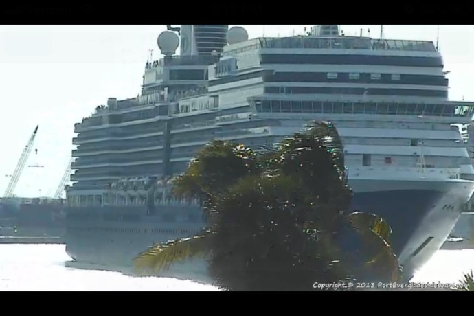 MS Eurodam from the Port Everglades webcam